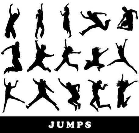 People jumping silhouette, Cliparts.