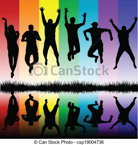 Vectors of Silhouettes of young people jumping csp19004736.