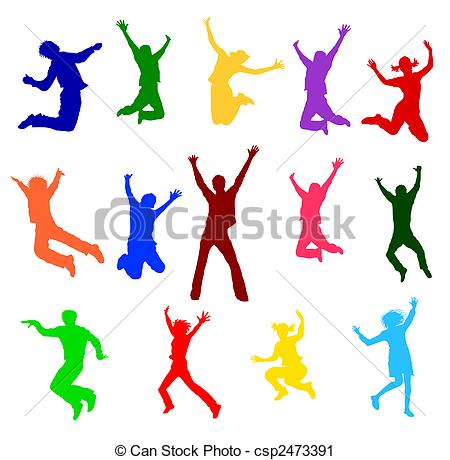 Clipart of colorful jumping people.