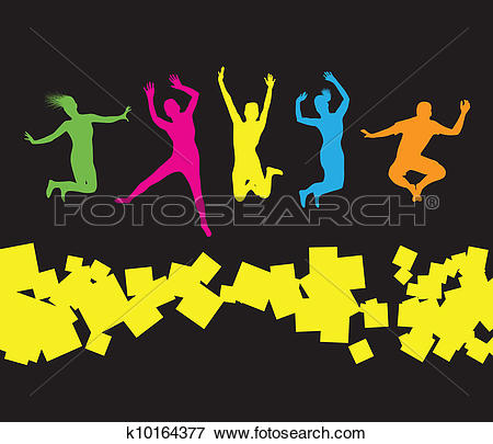 Clip Art of people jumping k5584706.