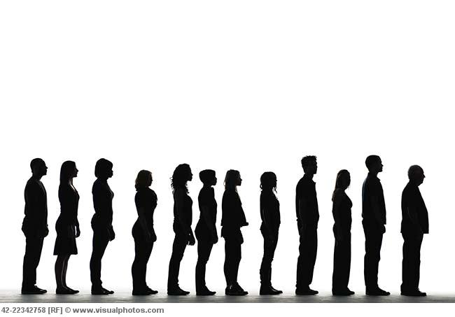 People Line Up Clipart.