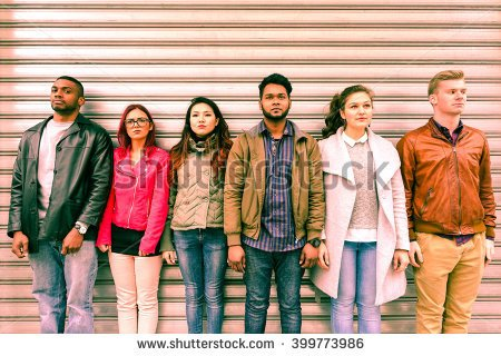 People line up outside home clipart.