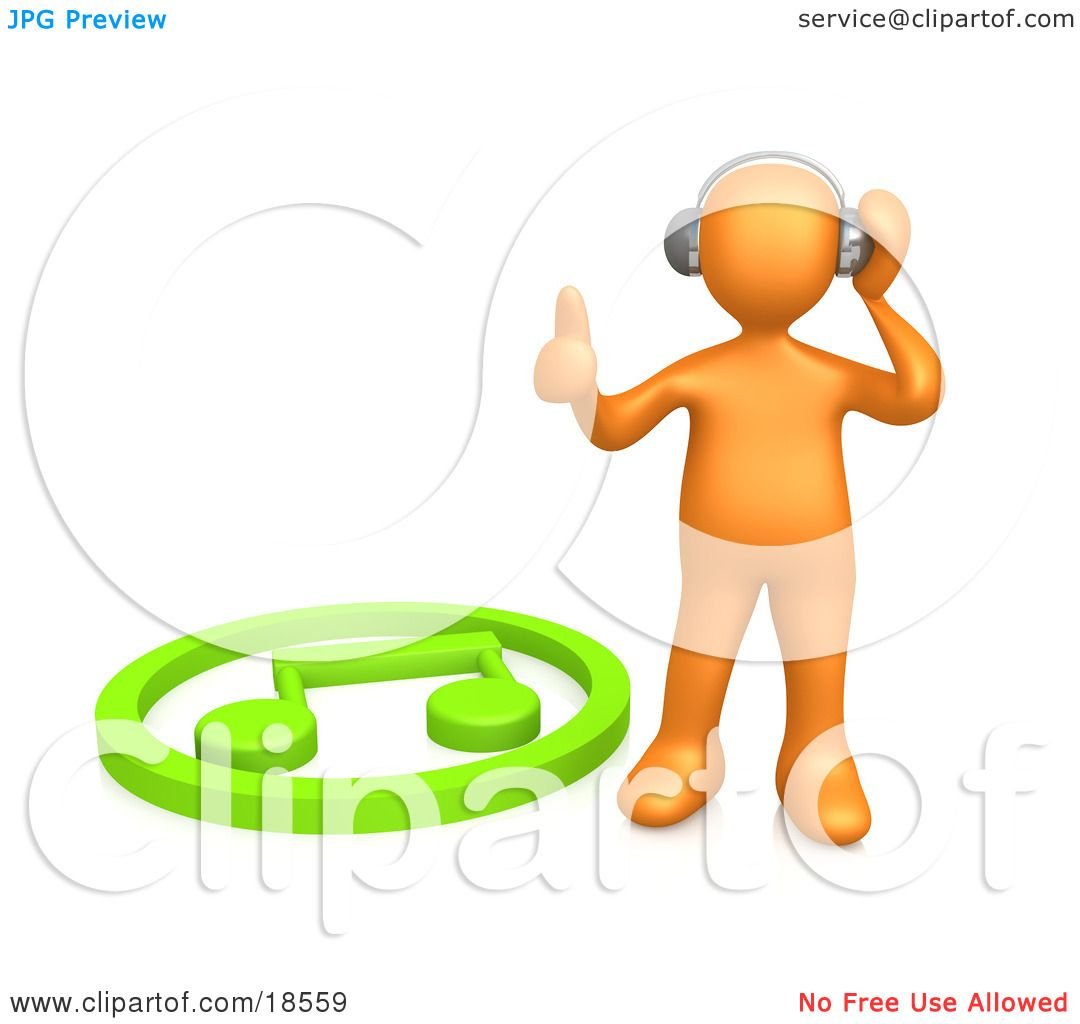 Clipart Illustration of an Orange Person Listening To Music.