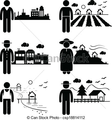 Vector Clip Art of People Living in Different Places.