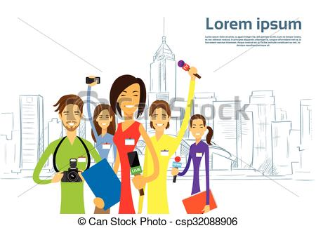 Clip Art Vector of Journalists Crew, Woman Reporter eam Live News.