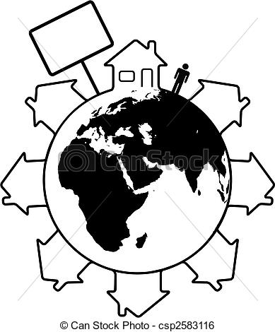 Clip Art Vector of Housing Earth people homes around the world.