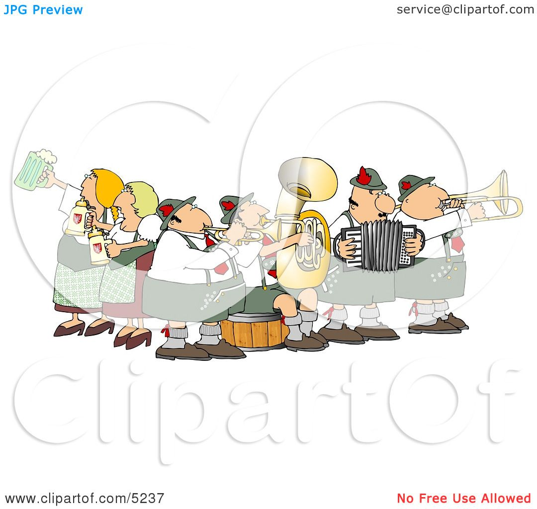 People Celebrating Oktoberfest with Live Music and Beer Clipart by.