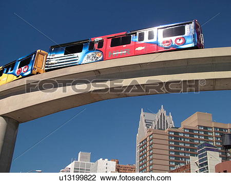 Stock Photo of Detroit, MI, Michigan, Motor City, Downtown.