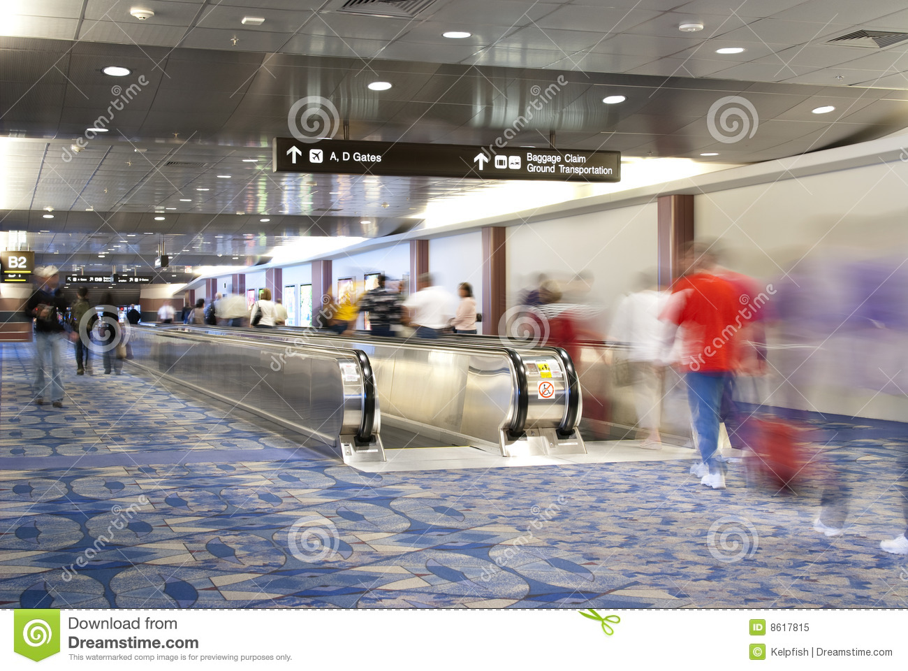 Airport People Mover Escalator Royalty Free Stock Photo.