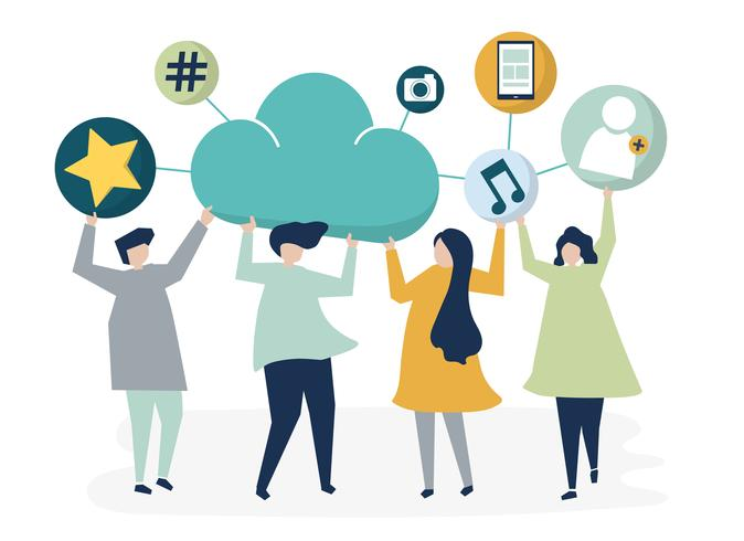 People holding cloud and social networking icons.