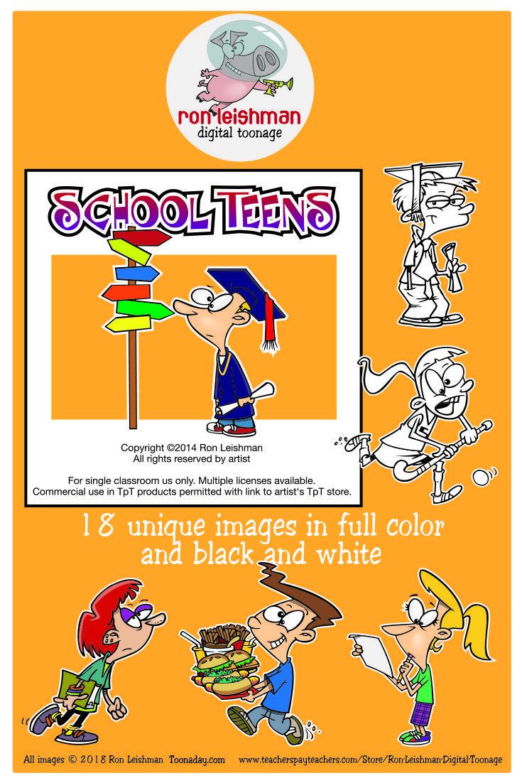 School Teens Cartoon Clipart Volume 1.