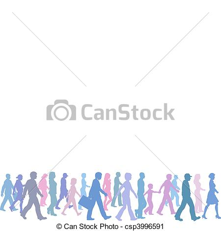 Vector Clip Art of People of color group walk follow direction.