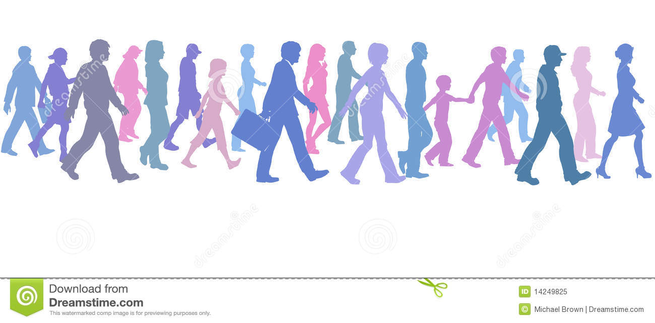 People walking clipart color.