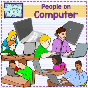 People working on computer Clip Art.