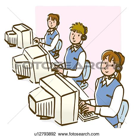 People Using Computer Clipart.
