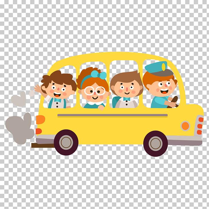Student Child School , school bus, four people inside yellow.