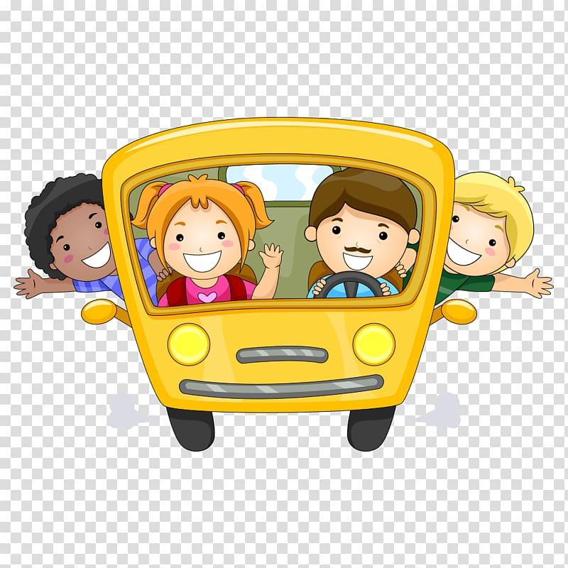 People inside bus illustration, Child illustration , school.