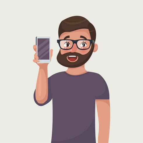 Man in glasses with beard is showing the phone. People and.