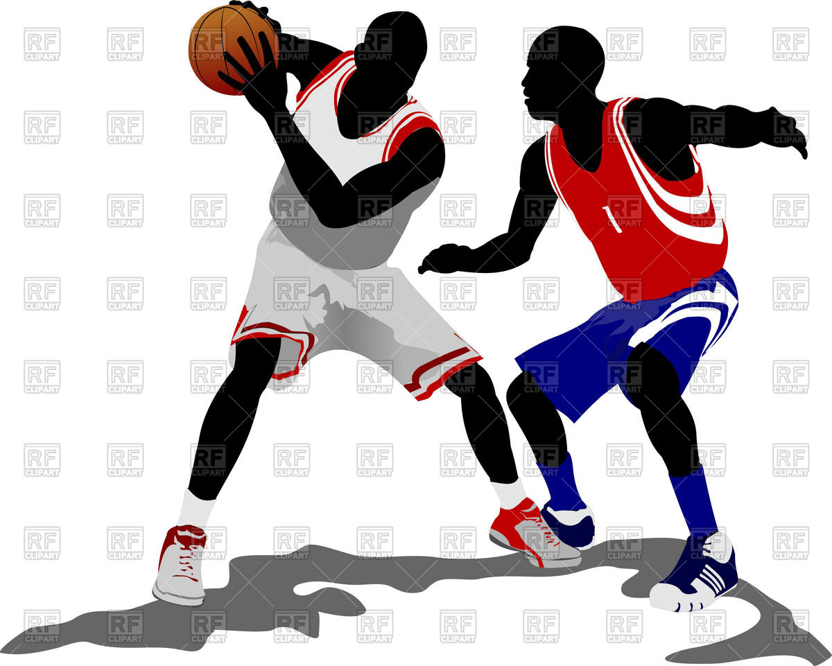 Colored silhouettes of basketball players with ball Vector Image.