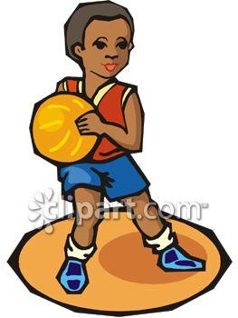 African American Boy Playing Basketball.