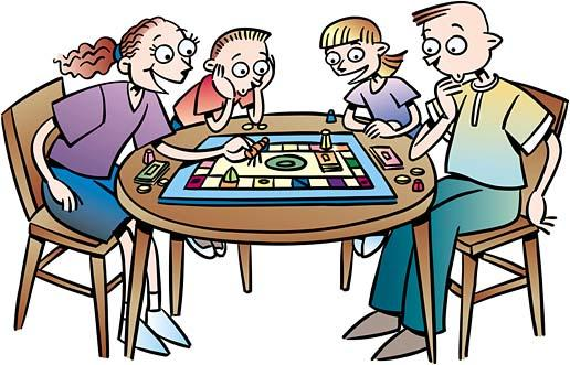 People Playing Board Games Clipart.
