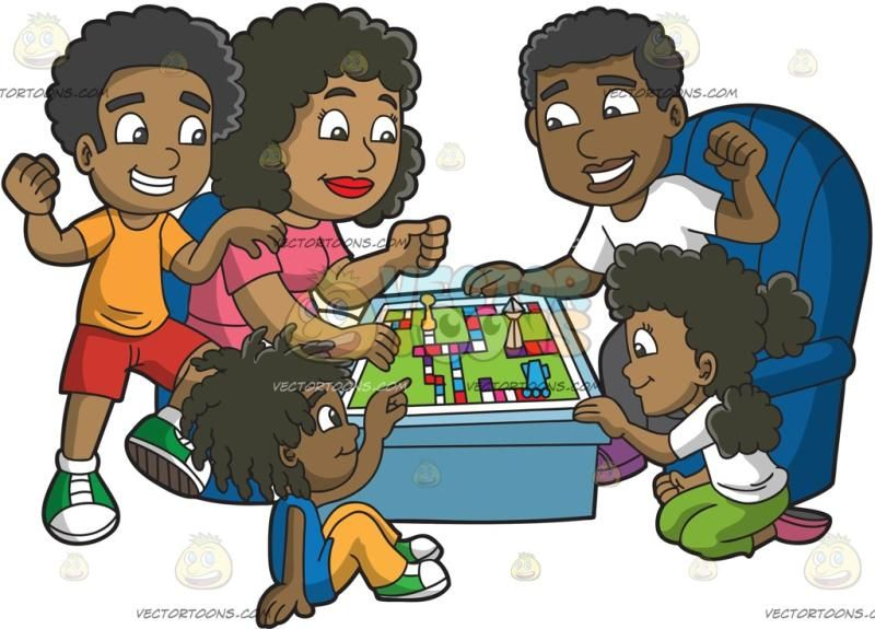 A Black Family Playing A Board Game: A black man with his.