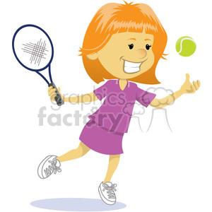 cartoon girl playing tennis clip art image clipart. Royalty.