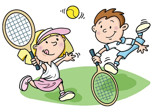 Kids Playing Tennis Clipart.