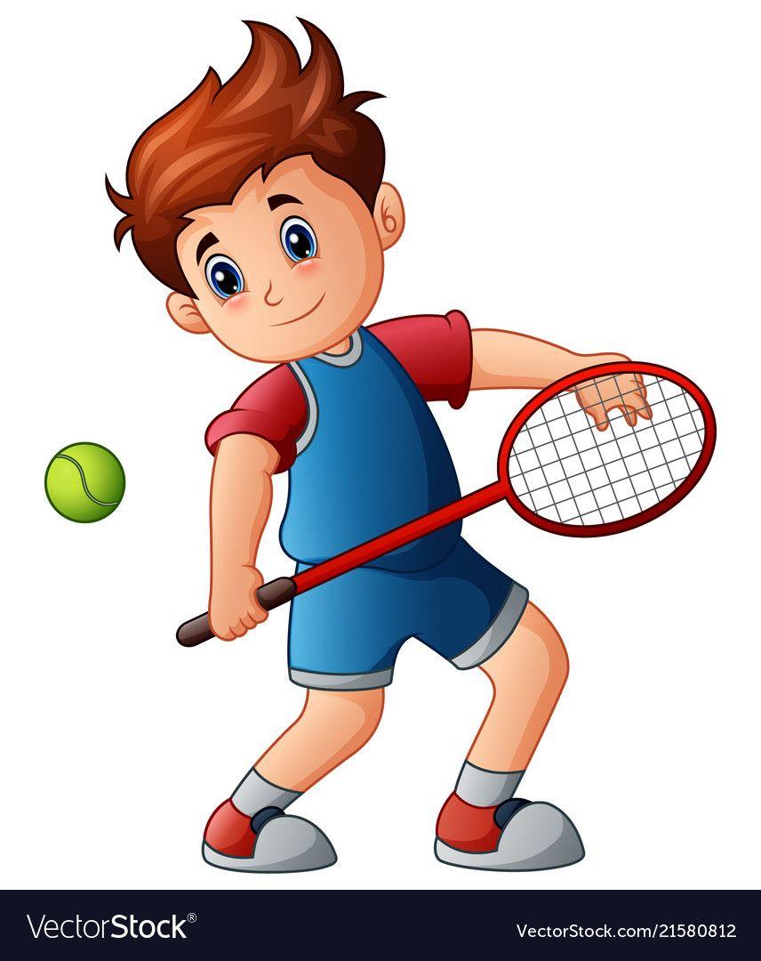 Cartoon boy playing tennis Royalty Free Vector Image.