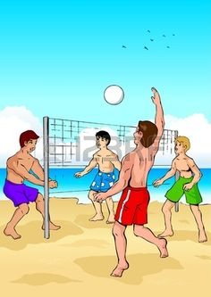 A Smiling Man Playing Beach Volley Cartoon Clipart.