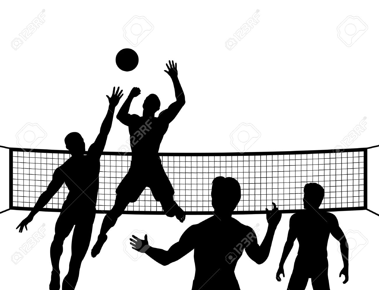 Silhouettes Of Four Men Playing Beach Volleyball Royalty Free.