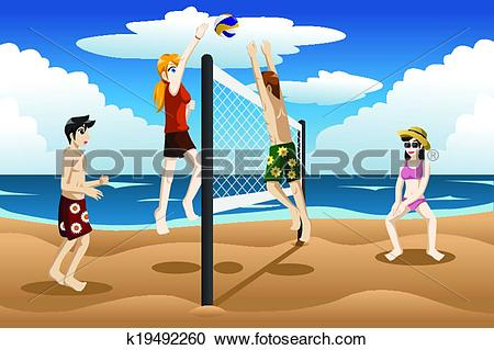 Clipart of People playing beach volleyball k19492260.