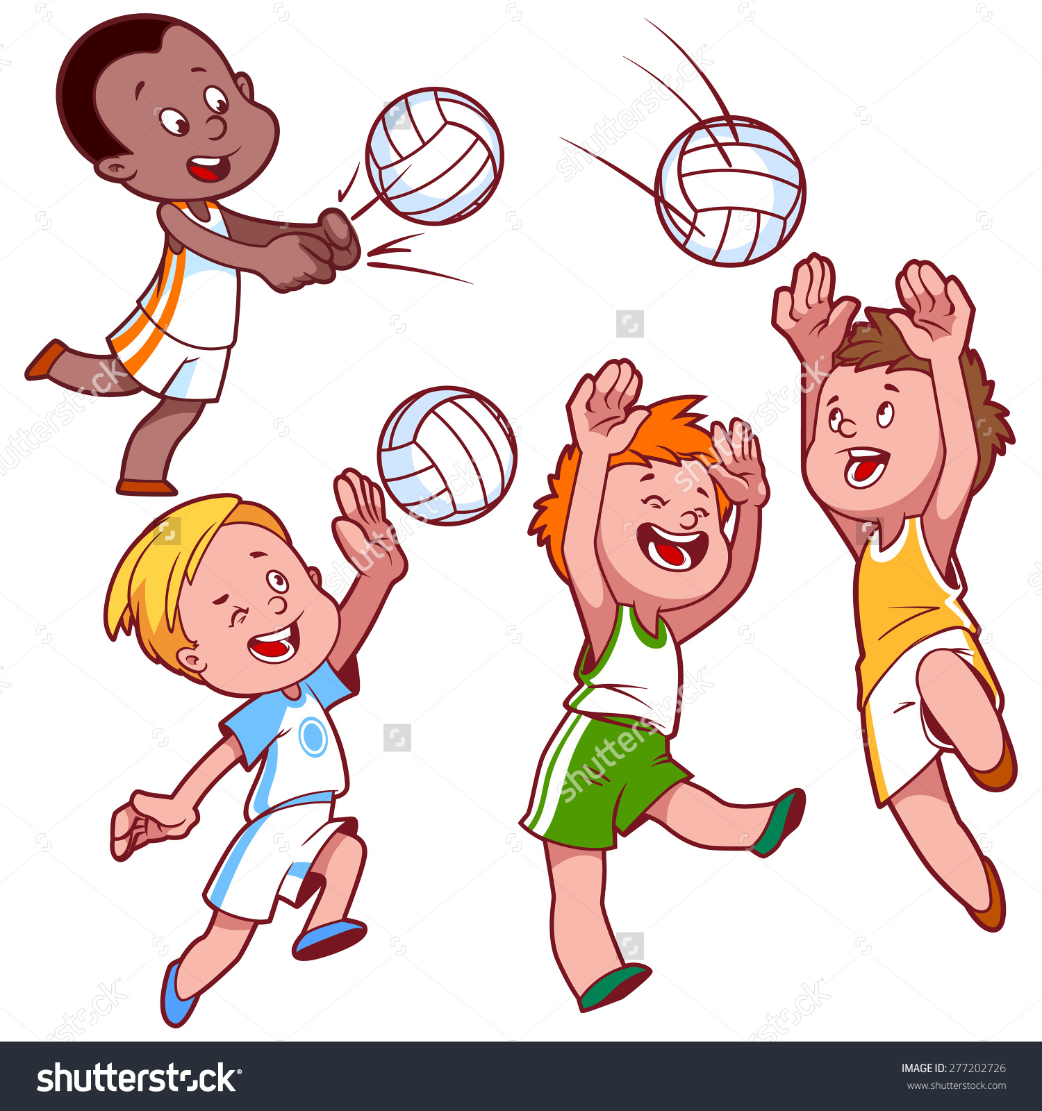 Cartoon Kids Playing Volleyball Vector Clip Stock Vector 277202726.