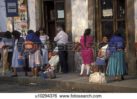 Stock Images of Mexico, people, Patzcuaro, Mexican people wearing.