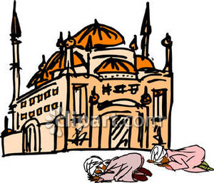Clipart Picture of People on Their Knees Praying in Front of a Mosque.