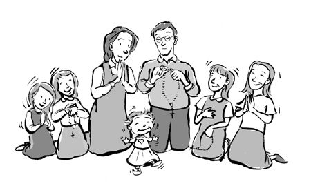 Family praying together clipart 7.