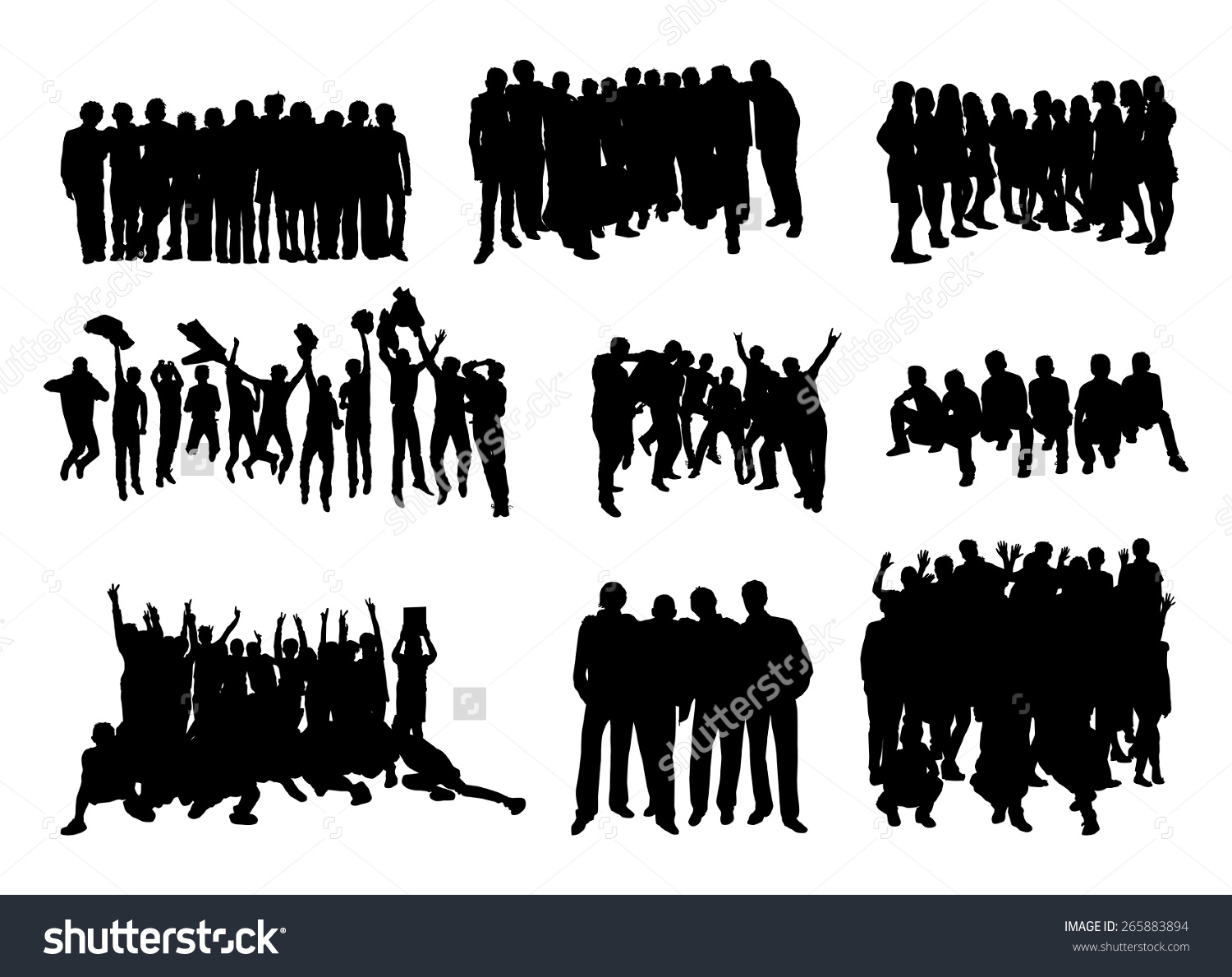 Set Silhouettes Rejoicing Hugging Jumping People Stock Vector.