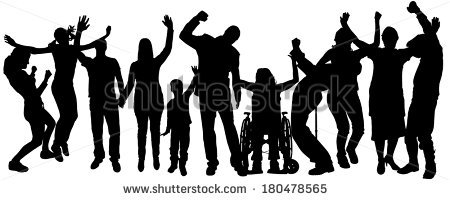 Vector Silhouette People Who Rejoice On Stock Vector 180478613.