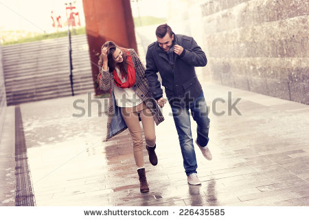 Walking In The Rain Stock Images, Royalty.