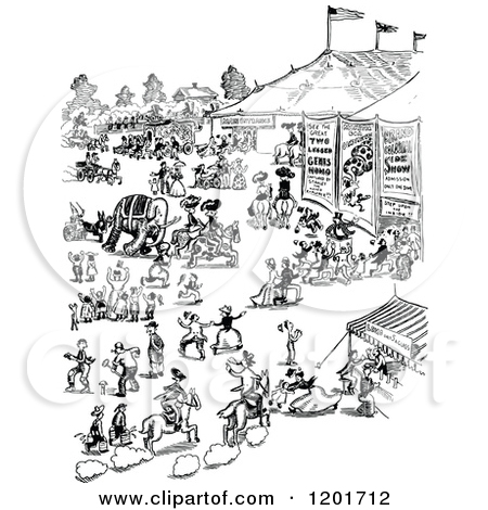 Clipart of a Vintage Black and White Busy Scene.