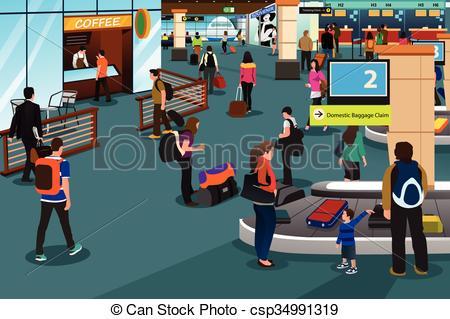 Vector Clip Art of People Inside Airport Scene.