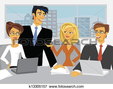 Clip Art of Vector Meeting Scene with cartoon business people.