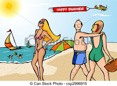 People tanning on the beach scene clipart.