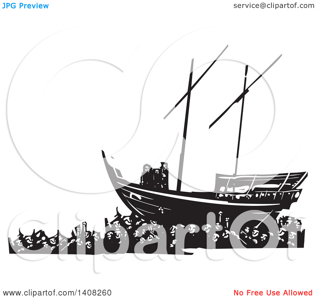 Clipart of a Black and White Woodcut Refugee Family on a Ship over.