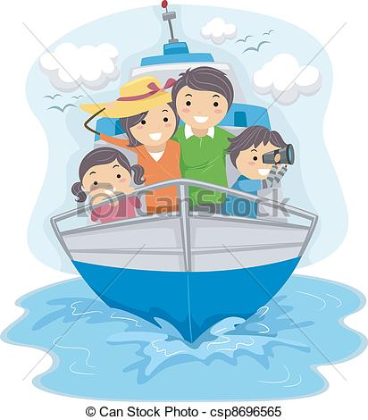 Clipart Vector of Family Traveling by Ship.