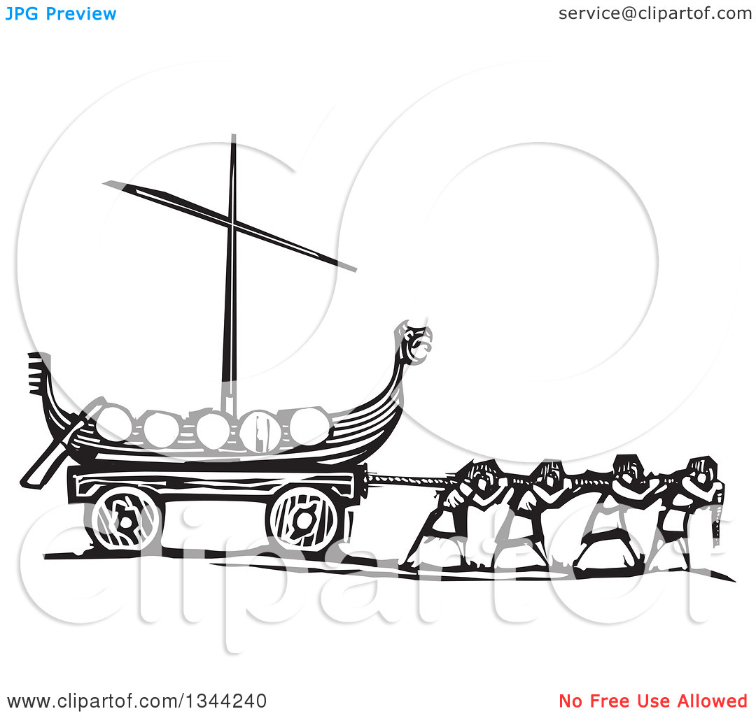 Clipart of Black and White Woodcut People Pulling a Viking Dragon.