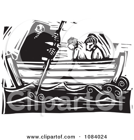 Clipart Grim Reaper Of Death Rowing People In A Boat Black And.
