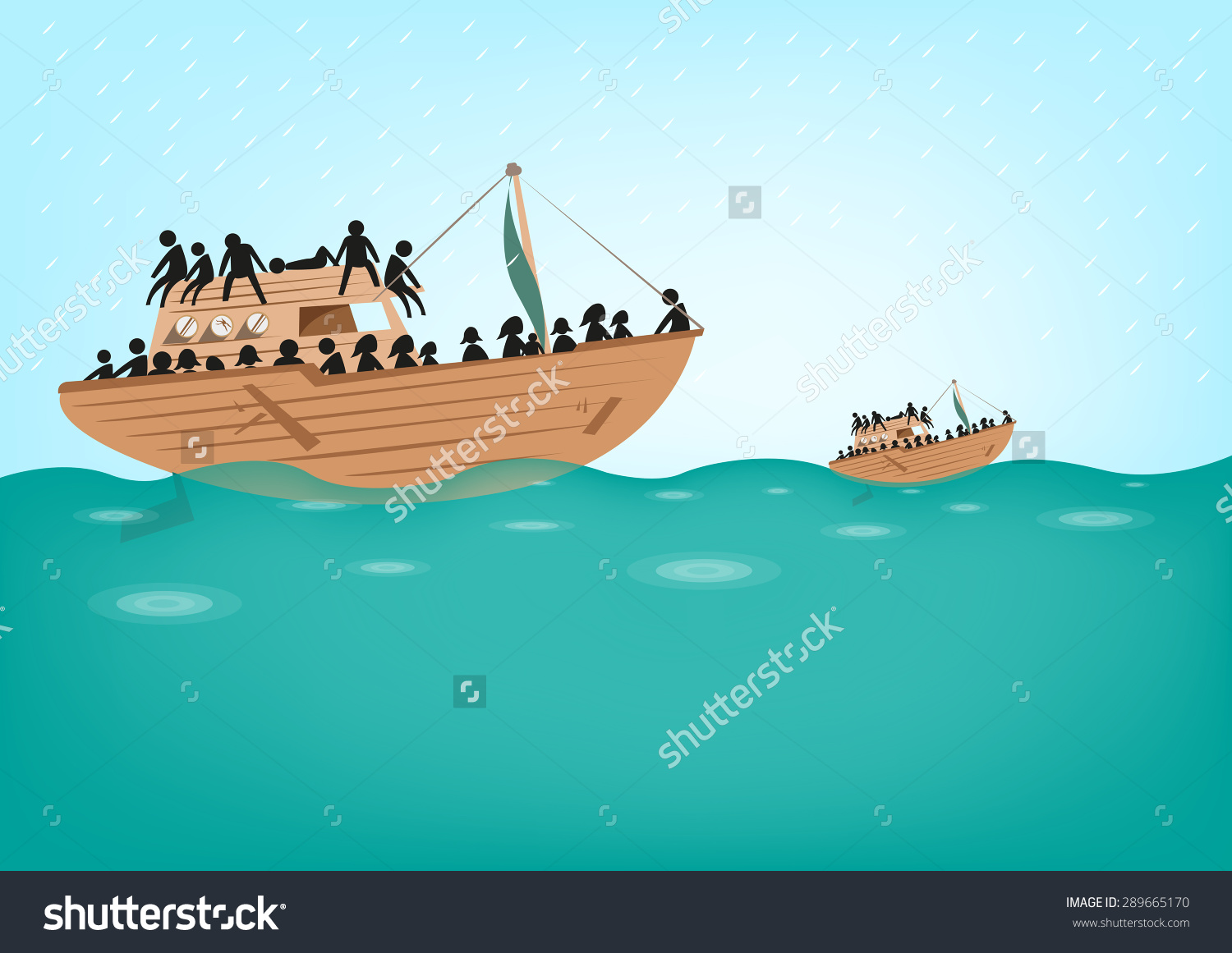 Boat People Stateless Refugees Risking Lives Stock Vector.