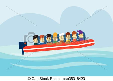 Vector Illustration of Migrant Crisis People Group Emigrant Motor.