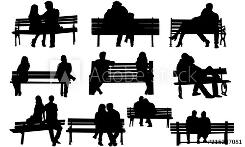 Couple on a Bench Silhouette.